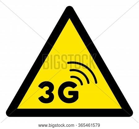 Raster 3g Network Flat Warning Sign. Triangle Icon Uses Black And Yellow Colors. Symbol Style Is A F