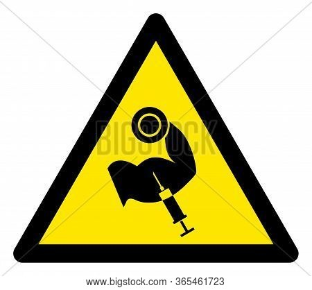 Raster Anabolic Steroid Flat Warning Sign. Triangle Icon Uses Black And Yellow Colors. Symbol Style
