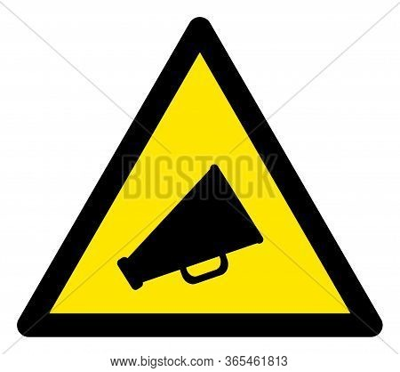 Raster Announce Flat Warning Sign. Triangle Icon Uses Black And Yellow Colors. Symbol Style Is A Fla
