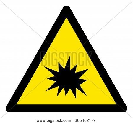 Raster Boom Flat Warning Sign. Triangle Icon Uses Black And Yellow Colors. Symbol Style Is A Flat Bo