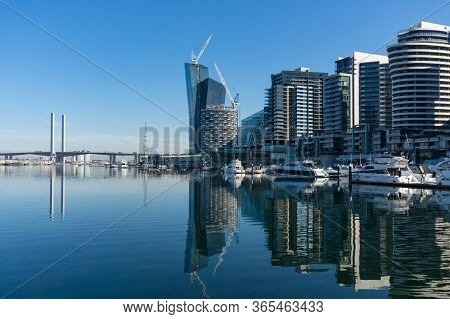 Urban Cityscape With Modern Buildings And Bay With Yachts. Docklands Suburb Of Melbourne, Australia
