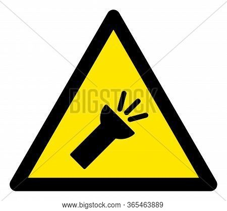 Raster Electric Torch Flat Warning Sign. Triangle Icon Uses Black And Yellow Colors. Symbol Style Is