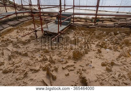 Langebaan, South Africa - February 4, 2019: Archaeology Excavation Site In West Coast Fossil Park Wi