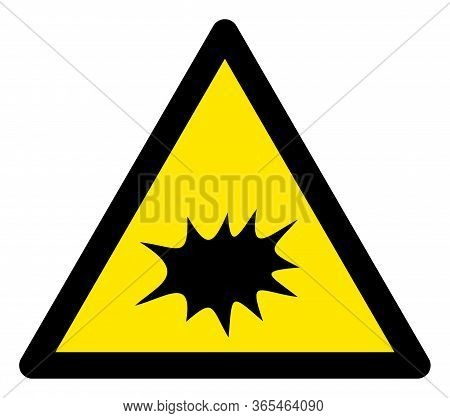 Raster Explode Flat Warning Sign. Triangle Icon Uses Black And Yellow Colors. Symbol Style Is A Flat