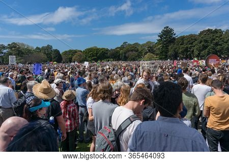 Sydney, Australia - September 20, 2019: People With Banners And Placards On Climate Change Strike In