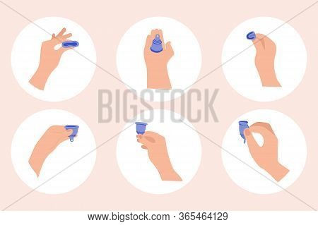 Menstrual Period Use Cup To Collecting Blood. Menstrual Cup Hygiene Device Used In Feminine Menstrua