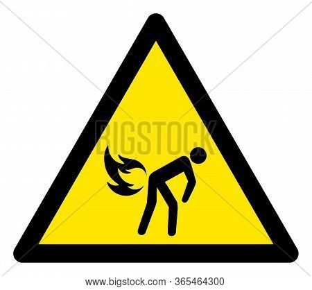 Raster Fire Fart Flat Warning Sign. Triangle Icon Uses Black And Yellow Colors. Symbol Style Is A Fl