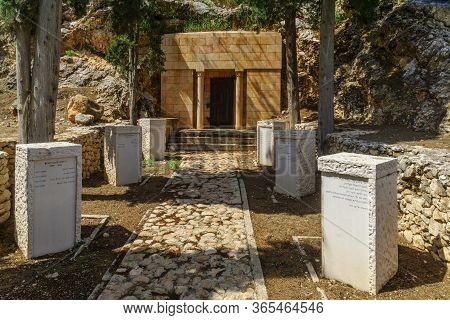 Gideona, Israel - May 06, 2020: The Family Grave Of Yehoshua And Olga Hankin, In Maayan Harod Nation