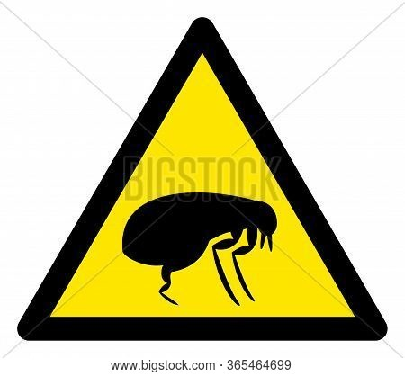 Raster Flea Flat Warning Sign. Triangle Icon Uses Black And Yellow Colors. Symbol Style Is A Flat Fl