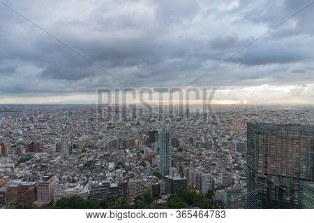 Tokyo Cityscape Aerial View. Modern Urban Sprawl Asian City Background