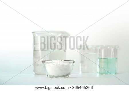 Cosmetic Chemicals Ingredient On White Laboratory Table. Nickle Chloride Liquid, Microcrystalline Wa