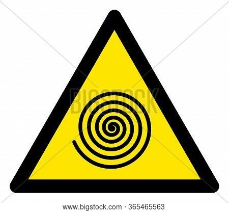 Raster Hypnosys Spiral Flat Warning Sign. Triangle Icon Uses Black And Yellow Colors. Symbol Style I