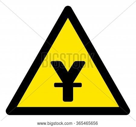 Raster Japanese Yen Flat Warning Sign. Triangle Icon Uses Black And Yellow Colors. Symbol Style Is A