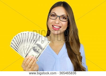 Easy Loan. Smiling Young Business Woman Showing Dollars On White Background.