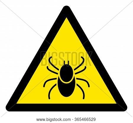 Raster Mite Flat Warning Sign. Triangle Icon Uses Black And Yellow Colors. Symbol Style Is A Flat Mi