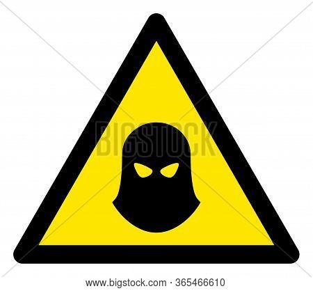 Raster Murder Balaklava Flat Warning Sign. Triangle Icon Uses Black And Yellow Colors. Symbol Style