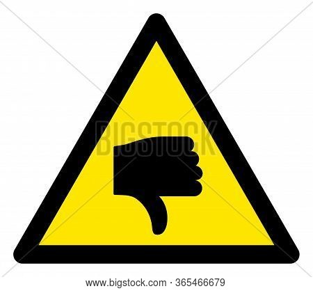 Raster Negative Rating Flat Warning Sign. Triangle Icon Uses Black And Yellow Colors. Symbol Style I
