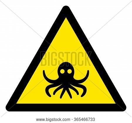 Raster Octopus Flat Warning Sign. Triangle Icon Uses Black And Yellow Colors. Symbol Style Is A Flat