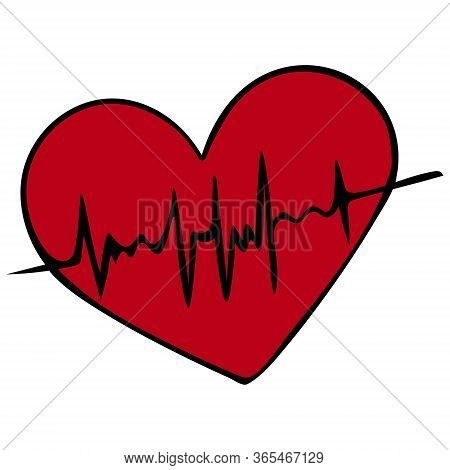 Heart with pulse. Cardiology. Assessment of artery pulsation.Vector illustration. Scarlet symbol on an isolated white background. Cartoon style. Examination of the patient. A vital biological process. Love symbol. Health topic.