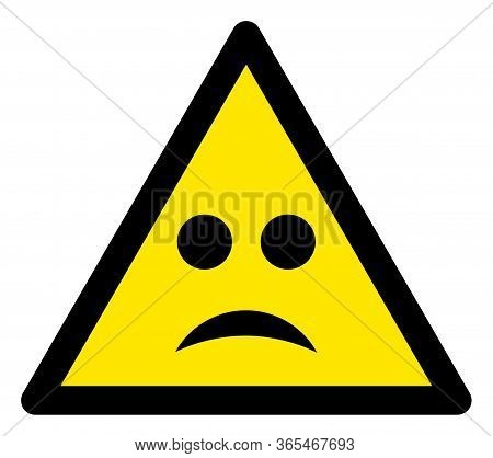 Raster Sad Mood Flat Warning Sign. Triangle Icon Uses Black And Yellow Colors. Symbol Style Is A Fla