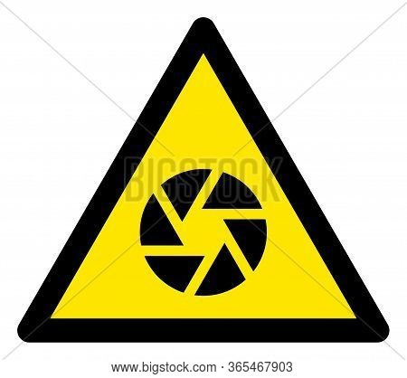 Raster Shutter Flat Warning Sign. Triangle Icon Uses Black And Yellow Colors. Symbol Style Is A Flat