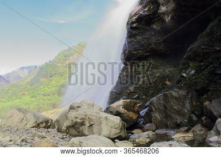 Breathtaking View Of Nuranang Falls Or Jang Falls Or Bong Bong Falls, One Of The Most Popular Touris