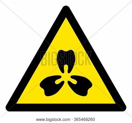 Raster Stomatology Flat Warning Sign. Triangle Icon Uses Black And Yellow Colors. Symbol Style Is A