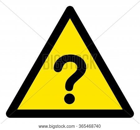 Raster Unknown Flat Warning Sign. Triangle Icon Uses Black And Yellow Colors. Symbol Style Is A Flat