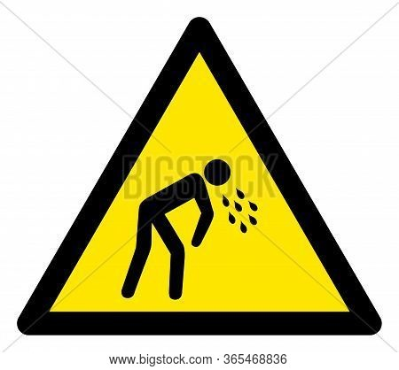 Raster Vomit Flat Warning Sign. Triangle Icon Uses Black And Yellow Colors. Symbol Style Is A Flat V