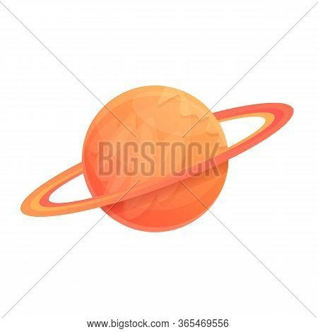 Saturn Planet Icon. Cartoon Of Saturn Planet Vector Icon For Web Design Isolated On White Background
