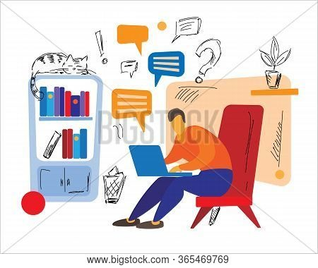 Teleworker - Man Sitting In Chair With Laptop And Sending Messages