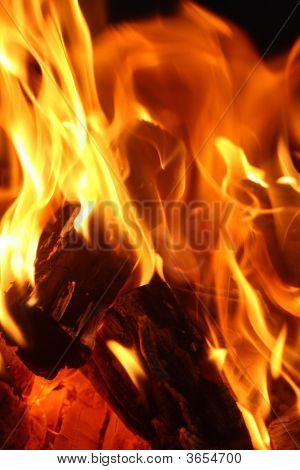 Close Up Shot Of Flames