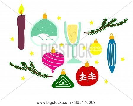 Set Of New Year Symbols Isolated On A White Background. Vector Christmas Balls, Candles, Tree Branch