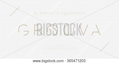 Abstract Thin Line Font Alphabet. Minimal Modern Fashion Fonts And Numbers. Typography Typeface Uppe