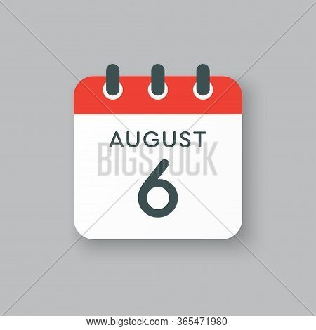 Calendar Icon Day 6 August, Date Days Of The Year