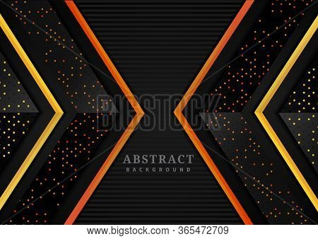 Abstract Triangle Geometric Overlapping Layers With Glitter And  Glowing Dots On Black Background Mo