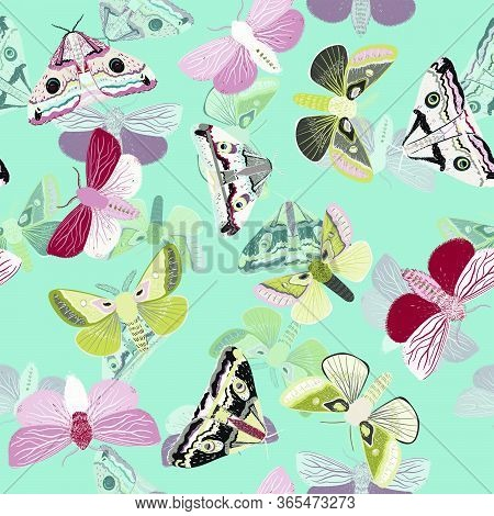 White Moths On A Light Blue Background. Seamless Vector Pattern With Insects. Repeating Square Patte