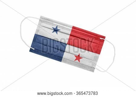 Medical Mask Panama Isolated On A White Background. Panama Pandemic Concept. Attribute Of A Coronavi