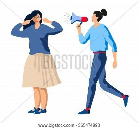 Woman With Megaphone. Aggressive Management Vector Illustration. Business Woman Pressure On Employee