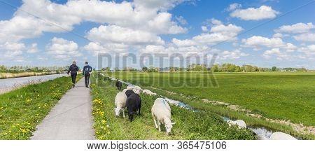 GRONINGEN, NETHERLANDS - MAY 5, 2020: Panorama of two women walking on the dike near Groningen, Netherlands