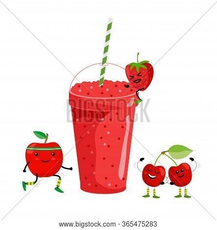 Smoothie Drink. Fresh Summer Fruit Juice. Red Fruit Smoothie. Cute Cartoon Fruits With Mug. Drinking