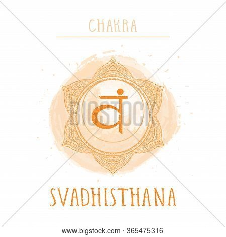Vector Illustration With Symbol Chakra Svadhishana - Sacral Chakra And Watercolor Element On White B