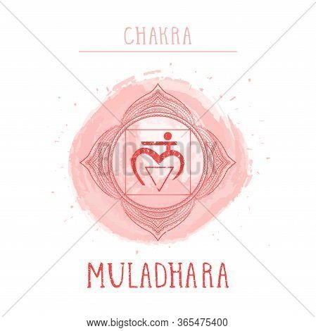 Vector Illustration With Symbol Chakra Muladhara - Root Chakra And Watercolor Element On White Backg
