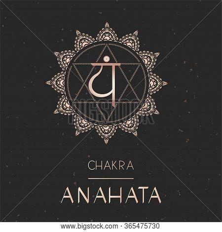 Vector Illustration With Gold Symbol Chakra Anahata - Heart Chakra On Dark Background. Round Mandala
