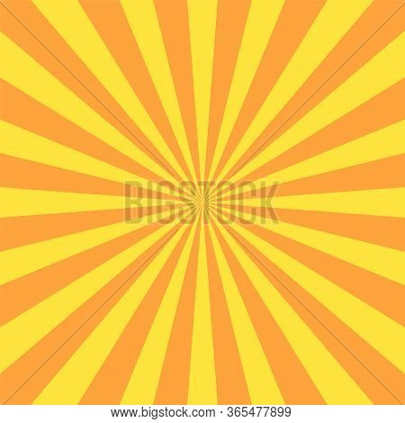 Sun Rays Background. Yellow Orange Radiate Sun Beam, Burst Effect. Sunbeam Light Flash Boom. Templat