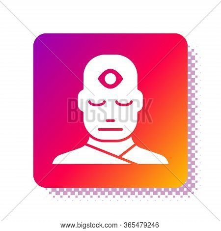 White Man With Third Eye Icon Isolated On White Background. The Concept Of Meditation, Vision Of Ene