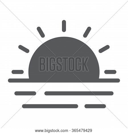 Sunset And Sea Waves Glyph Icon, Summer And Ocean, Sunset Sign Vector Graphics, A Solid Icon On A Wh
