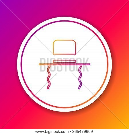 Color Line Orthodox Jewish Hat With Sidelocks Icon Isolated On Color Background. Jewish Men In The T