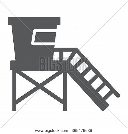 Lifeguard Tower Glyph Icon, Tourism And Beach, Beach Lifeguard Sign Vector Graphics, A Solid Icon On