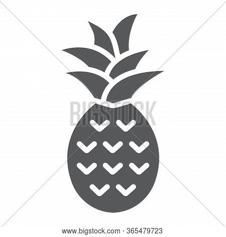 Pineapple Glyph Icon, Fruit And Tropical, Ananas Sign Vector Graphics, A Solid Icon On A White Backg